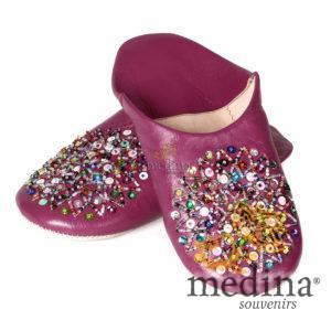 Babouche Essaouira fuschia babouche marocaine en cuir veritable chaussons chauffants maroc mocassins femme pantoufles femme
