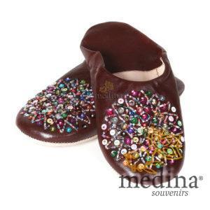 Babouche Essaouira marron babouche marocaine en cuir veritable chaussons cousus main mocassins femme pantoufles confortables