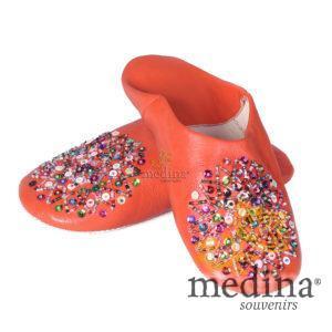 Babouche Essaouira orange babouche marocaine en cuir veritable chaussons cousus main mocassins femme pantoufles confortables