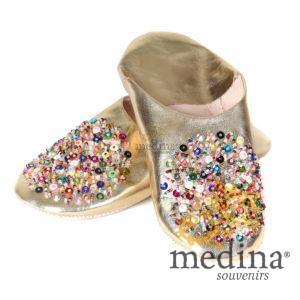 Babouche Essaouira couleur Or babouche marocaine fait main chaussons cousus main mocassins femme pantoufles confortables