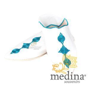 Babouche Mouna blanc babouche luxe de Fez à bout pointu en cuir veritable et broderies de soie chaussons fait main