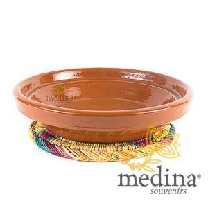 Ensemble plat a tajine marocain avec son dessous de plat en osier