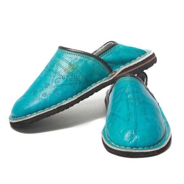 Babouche Touareg enfant mixte turquoise, babouches confortables et solides, chaussons marocaines robustes