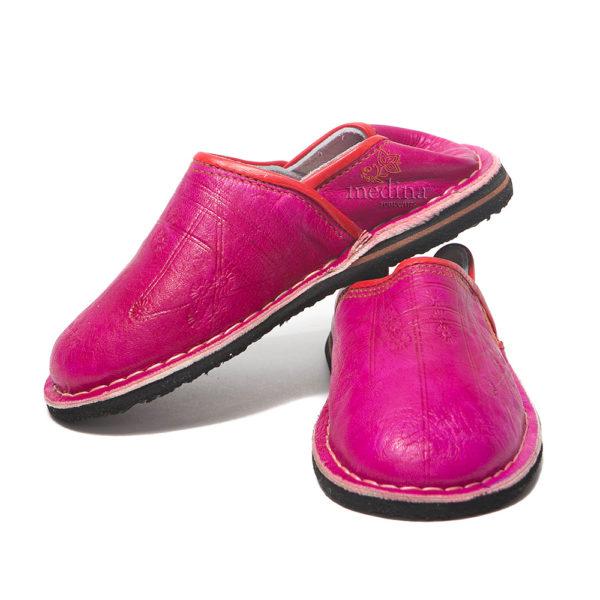 Babouche Touareg enfant mixte couleur fuschia, babouches confortables et solides, chaussons robustes