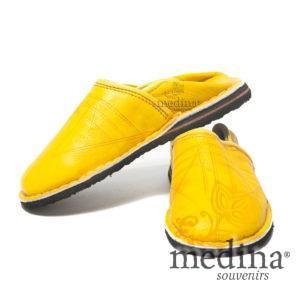 Babouche Touareg enfant mixte couleur jaune, babouches confortables et solides, chaussons robustes