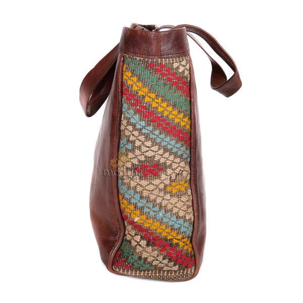 Sac à main style cabas kilim marron