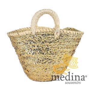 Panier marocain design avec poignées en corde tréssée décoré de paillettes dorées