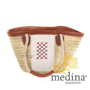 Panier en osier et cuir motif chergui