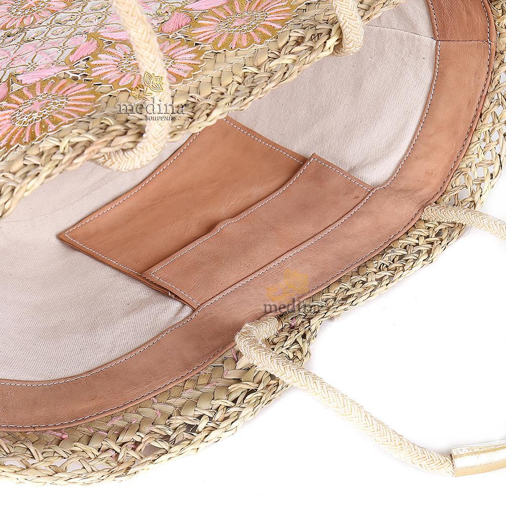 Panier marocain avec grandes poignées corde et cuir entièrement brodé