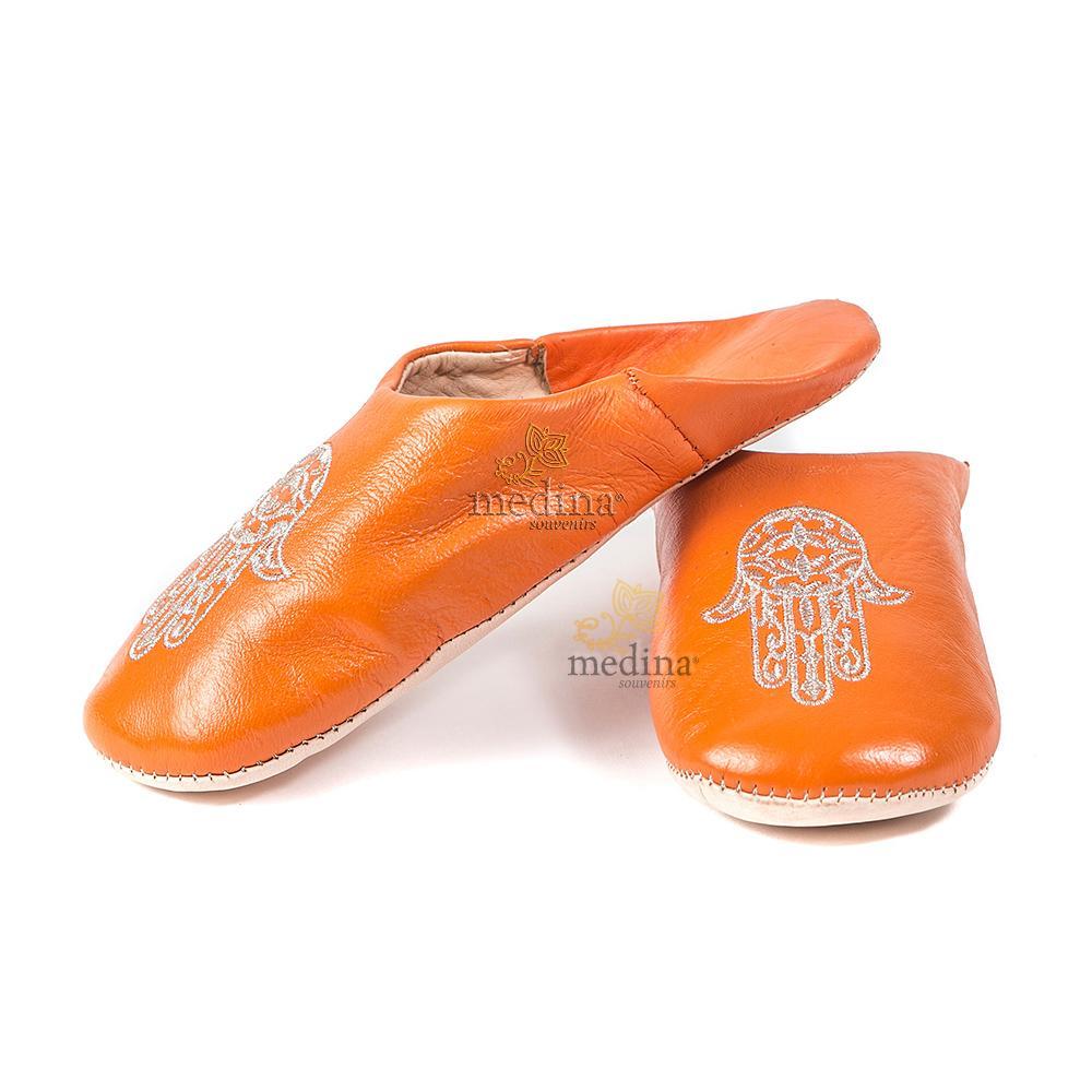 Babouche marocaine main de Fatima orange