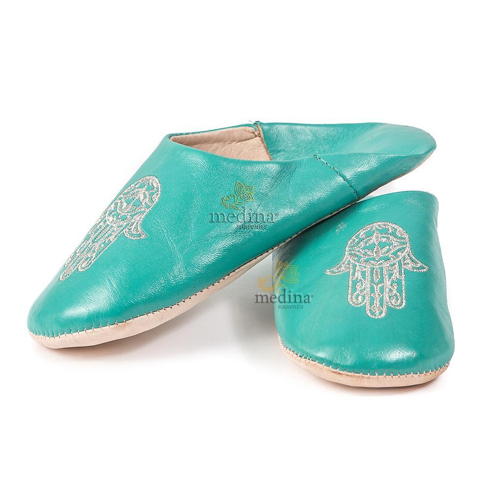 Babouche marocaine main de Fatima turquoise