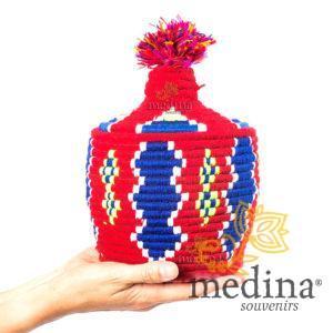 Boite vintage 3 cousue et tissée au fil de laine dans les tons rouge et bleu