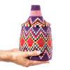 Boite vintage 8 cousue tissée au fil de laine dans les tons violet rouge et jaune