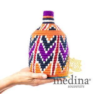 Boite vintage 29 cousue et tissée au fil de laine dans les tons orange, violet et bleu