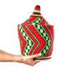 Grande boite vintage 47 cousue et tissée au fil de laine dans les tons rouge, marron et vert