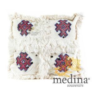 Coussin vintage berbere en laine vierge tissé main blanc motifs roses et rouges