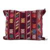 Coussin vintage tissé à la main, coussin en laine vierge aux couleurs chaleureuses et accueillantes