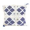 Coussin design berbere en laine vierge tissé main blanc et bleu