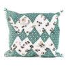 Coussin rectangulaire en kilim brodé vert blanc et joliment agrémenté de belles passementeries argentées