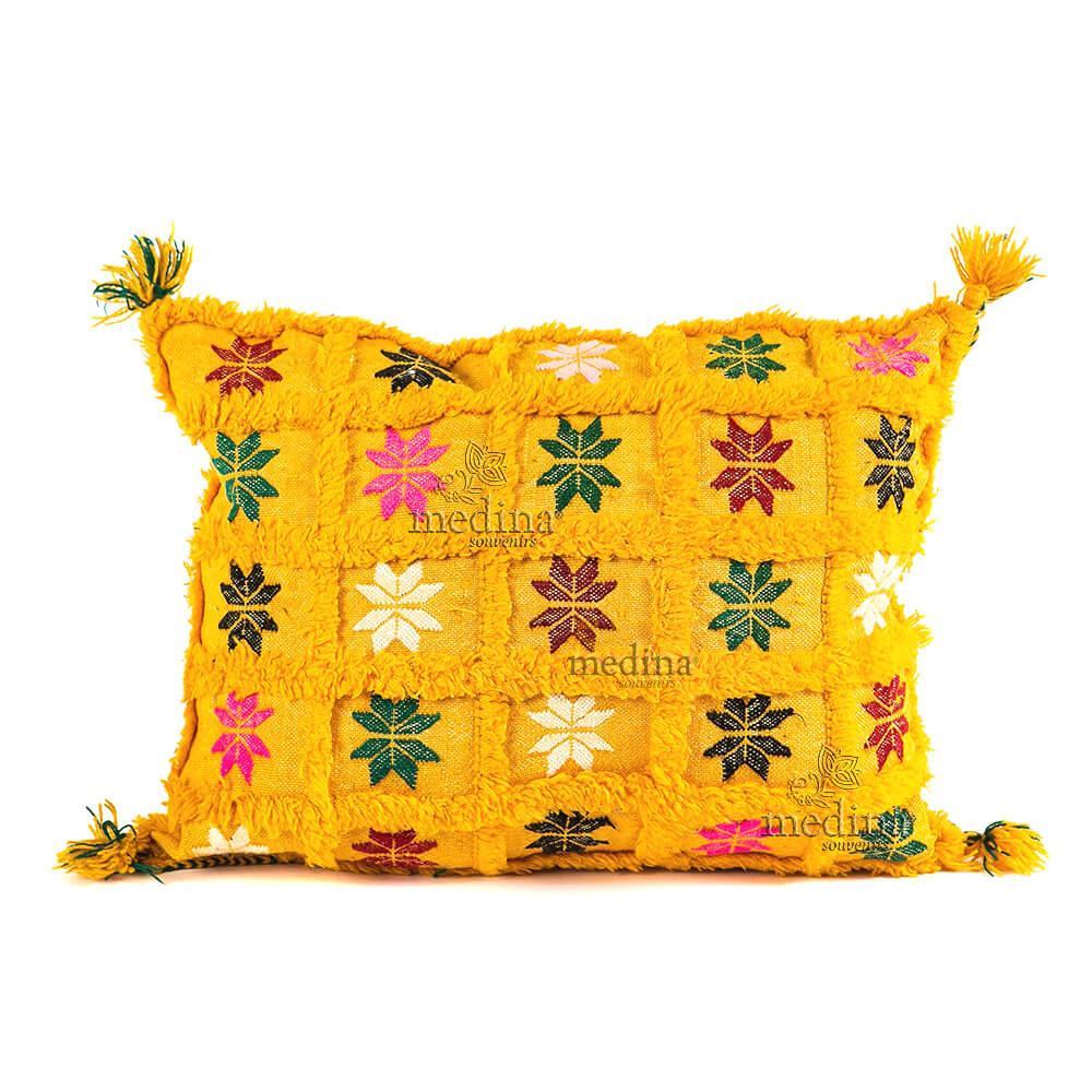 Coussin vintage rectangulaire jaune tissé et brodé main avec ses pompons