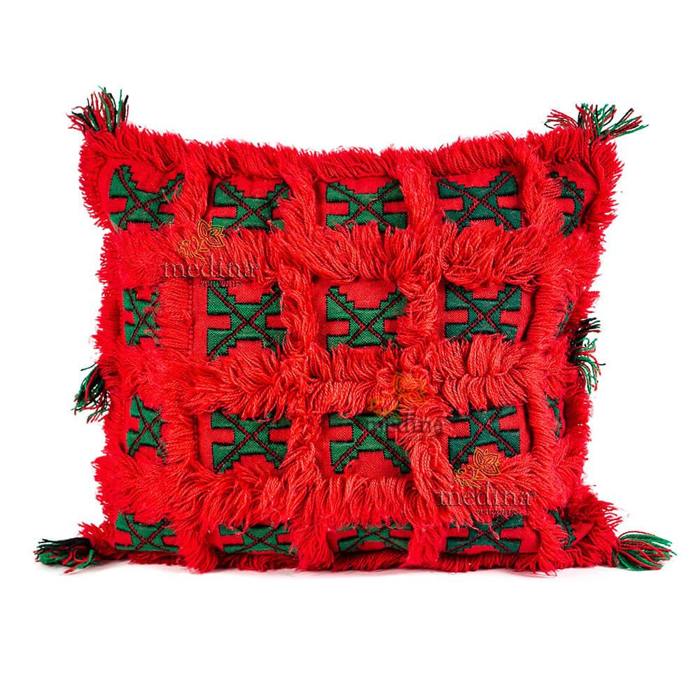 Coussin carré vintage rouge vif et vert tissé et brodé main