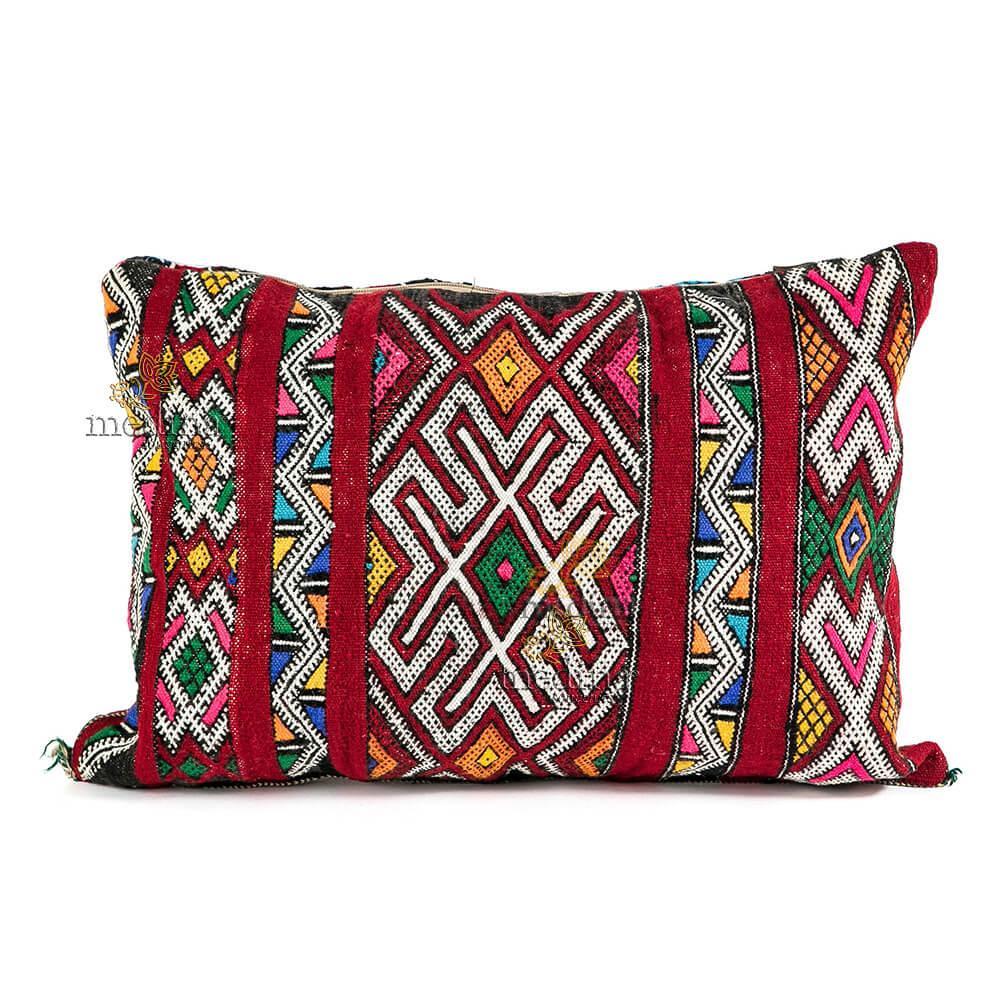 Coussin vintage berbère 100% laine vierge tissé main rouge avec motifs blanc