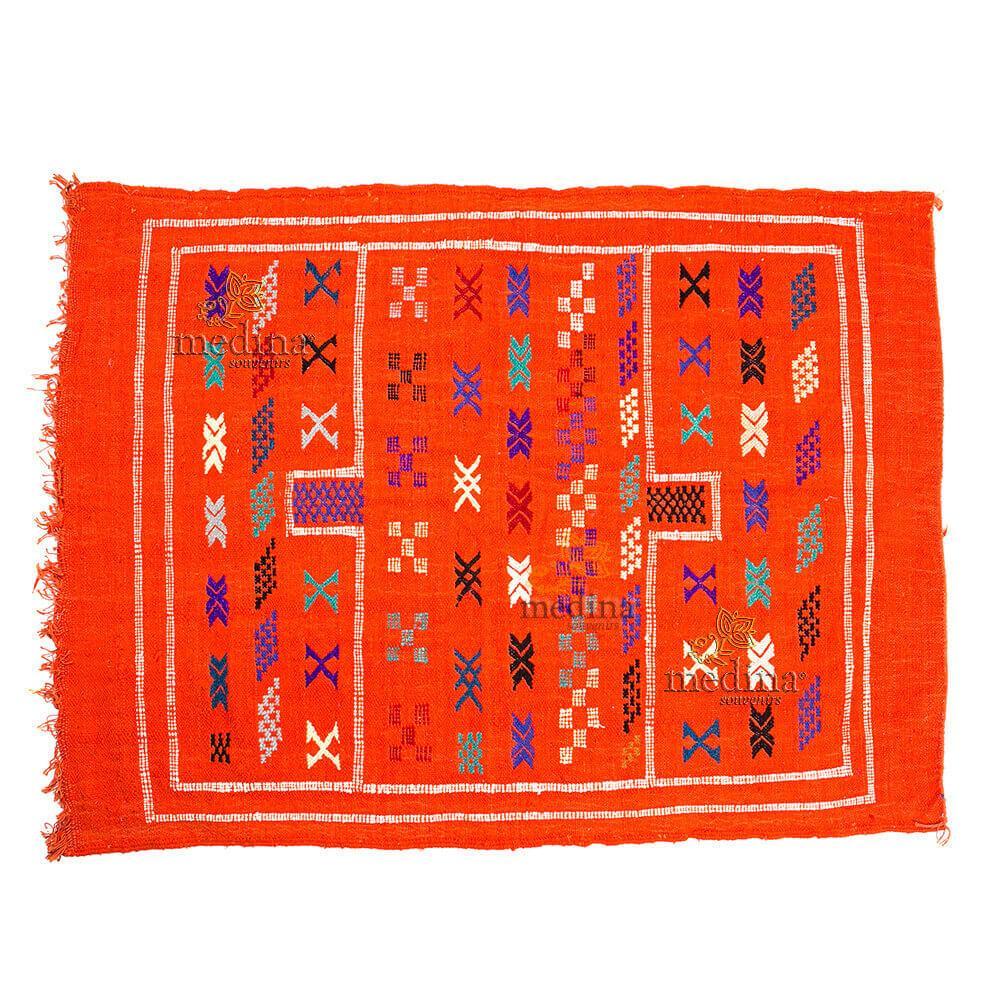 Tapis vintage fait main, tapis berbere aux motifs ethniques sur fond orange