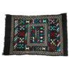 Tapis vintage fait main, tapis berbere aux motifs ethniques sur fond noir
