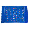 Tapis vintage fait main, tapis berbère aux motifs ethniques sur fond cobalt