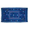 Tapis vintage fait main, tapis berbère aux motifs ethniques sur fond marine