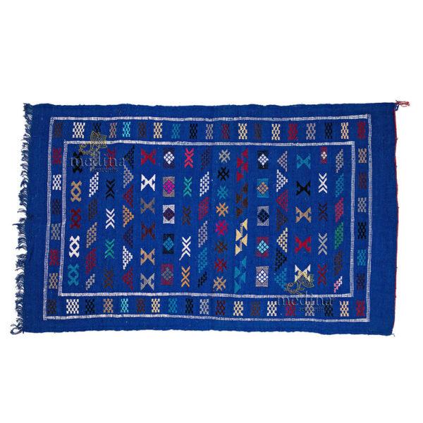 Tapis vintage fait main, tapis berbère aux motifs ethniques sur fond bleu