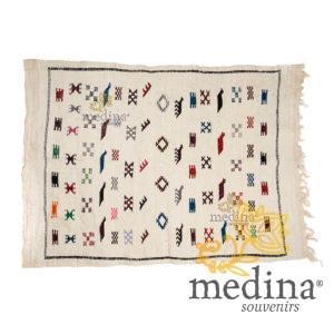 Tapis vintage fait main, tapis berbère aux motifs ethniques sur fond écru