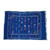 Tapis vintage fait main, tapis berbère aux motifs ethniques sur fond bleu royal